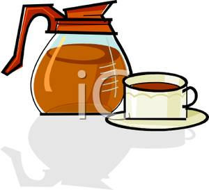 Image: A Cup of Coffee with an Industrial Coffee Pot.