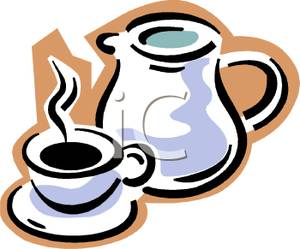 Steaming Cup of Coffee and a Coffee Pot.
