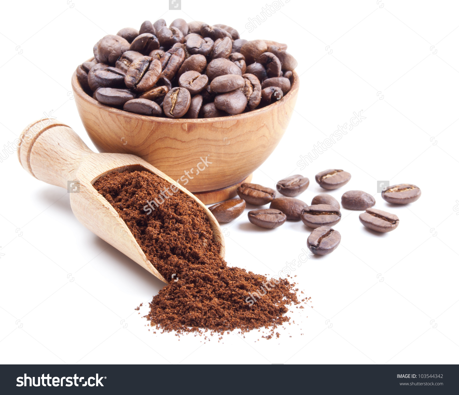 Ground Coffee Coffee Beans Isolated On Stock Photo 103544342.