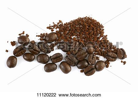 Stock Photo of Instant coffee powder and coffee beans 11120222.