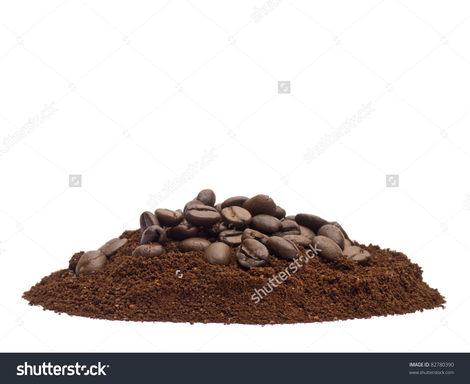 Coffee Powder Beans Isolated On White Stock Photo 82780390.