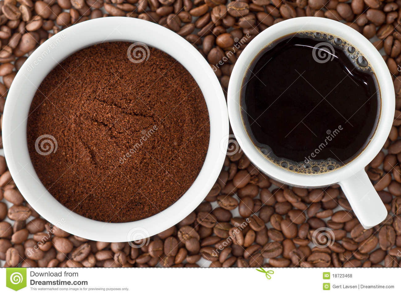 Coffee And Coffee Powder On Top Of Coffee Beans Royalty Free Stock.