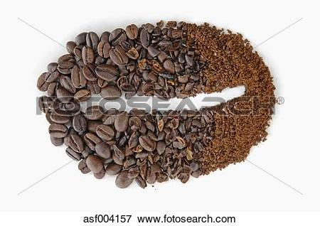 Picture of Coffee beans and coffee powder on white background.