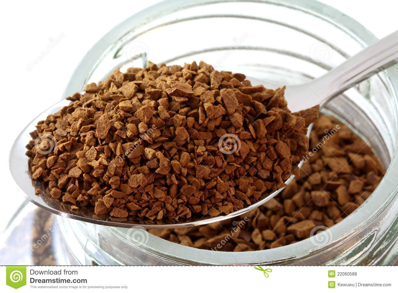 Golden Roasted Instant Coffee Powder Royalty Free Stock Photos.