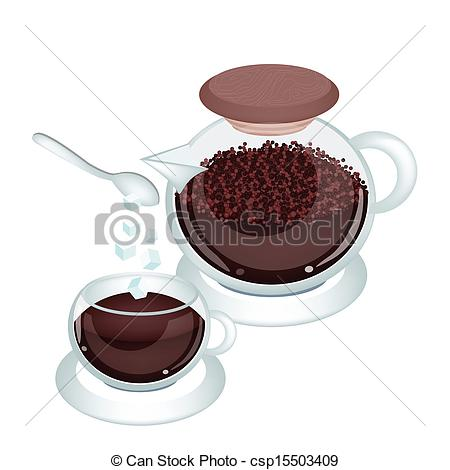 Vector Clipart of Hot Coffee with Coffee Powder in Jar.