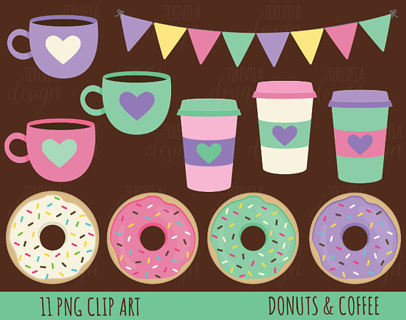 50% SALE Coffee and donut clipart, donuts clipart, coffee.