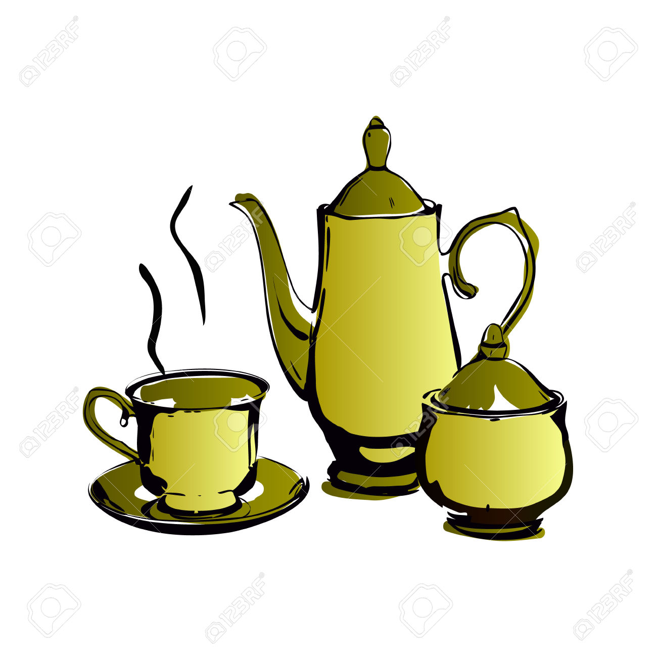 Vector Illustration Coffee Service, All The Lines Separate, Kettle.