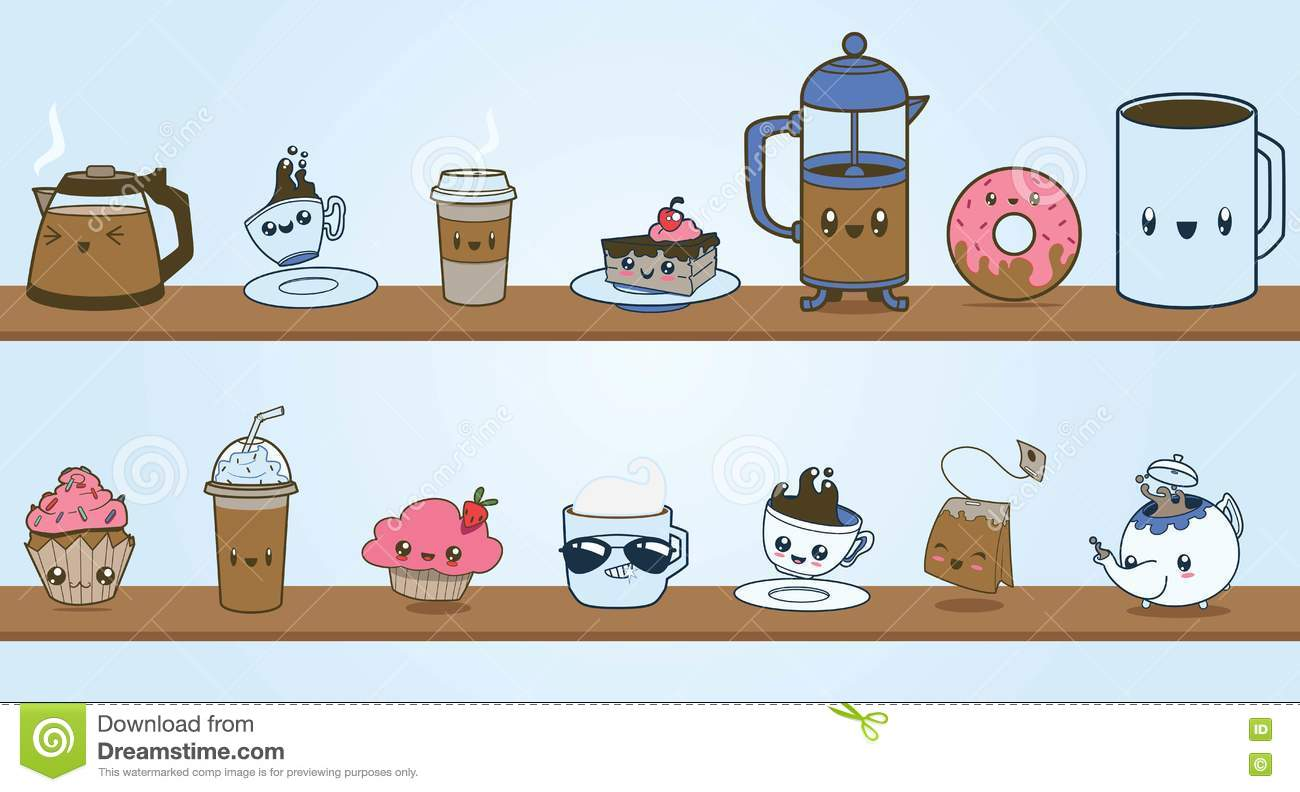 Cute Coffee Shop Vector Clipart Character Set Stock Vector.