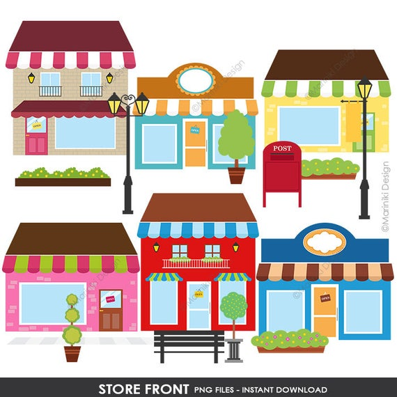 Boutique Store Shop Front Clip Art, Coffee Shop Front, Cafe Images for  Scrapbook Cards Invitations INSTANT DOWNLOAD CLIPARTS C93.