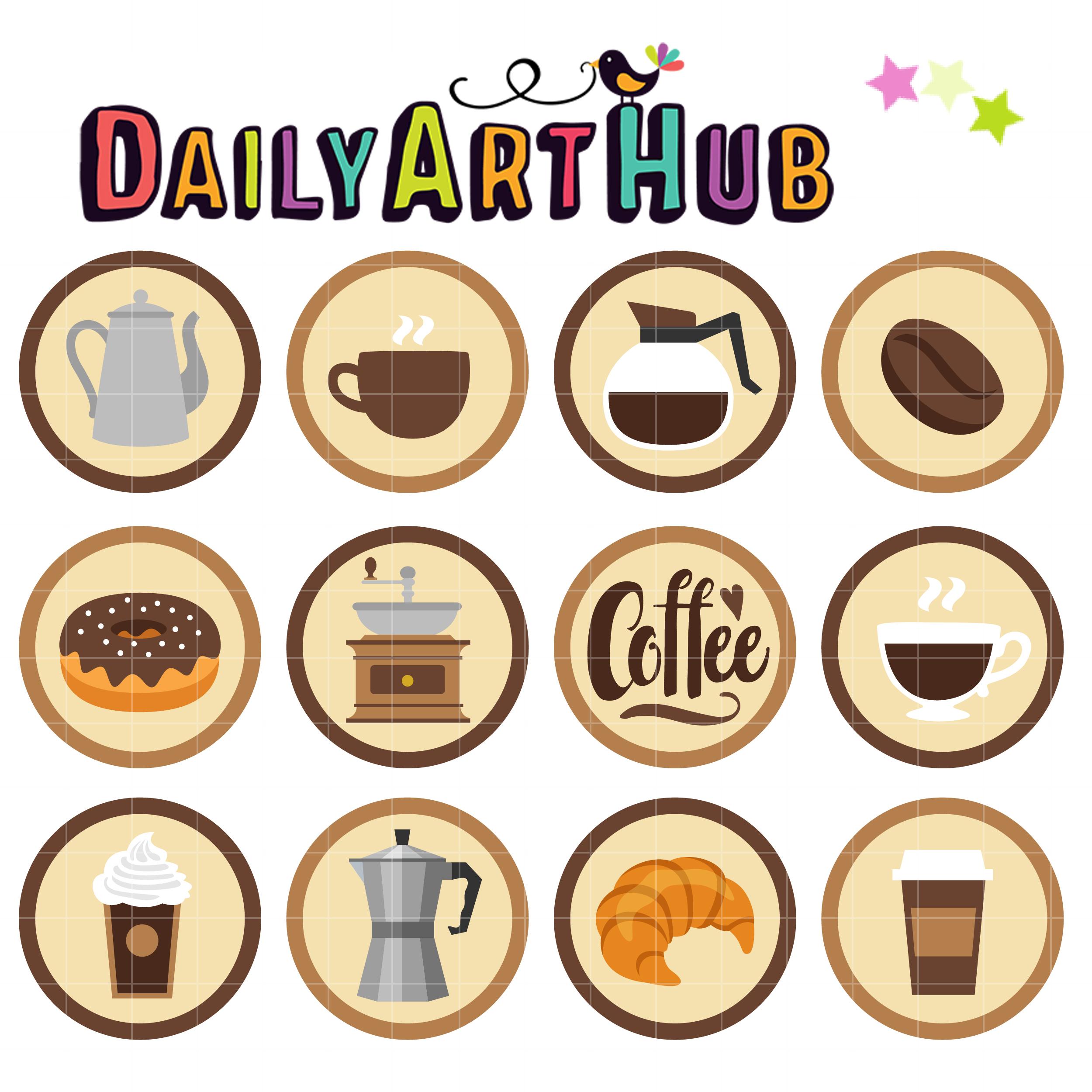 Coffee Shop Badge Clip Art Set.