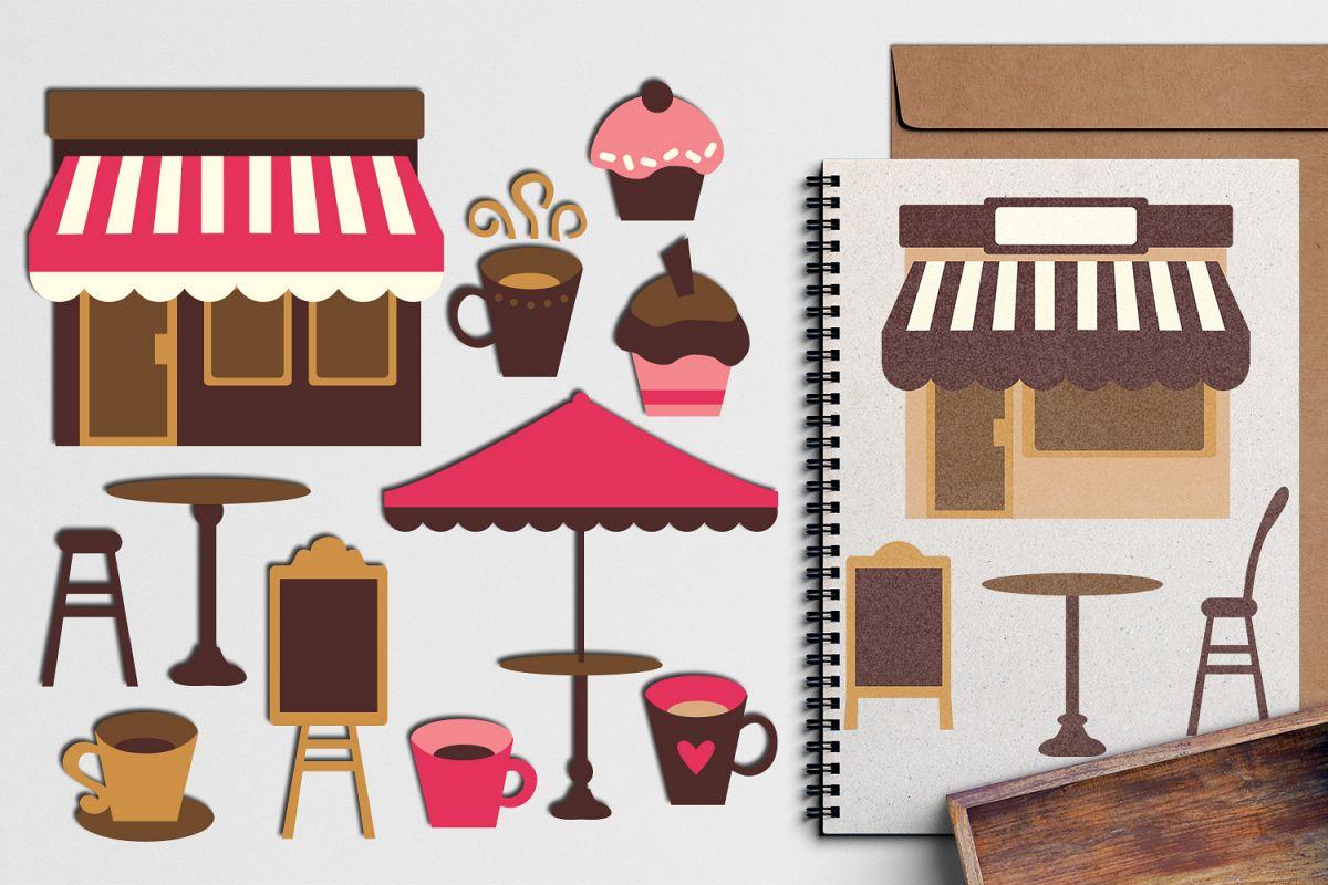 Pink brown cafe coffee shop design graphic illustration.