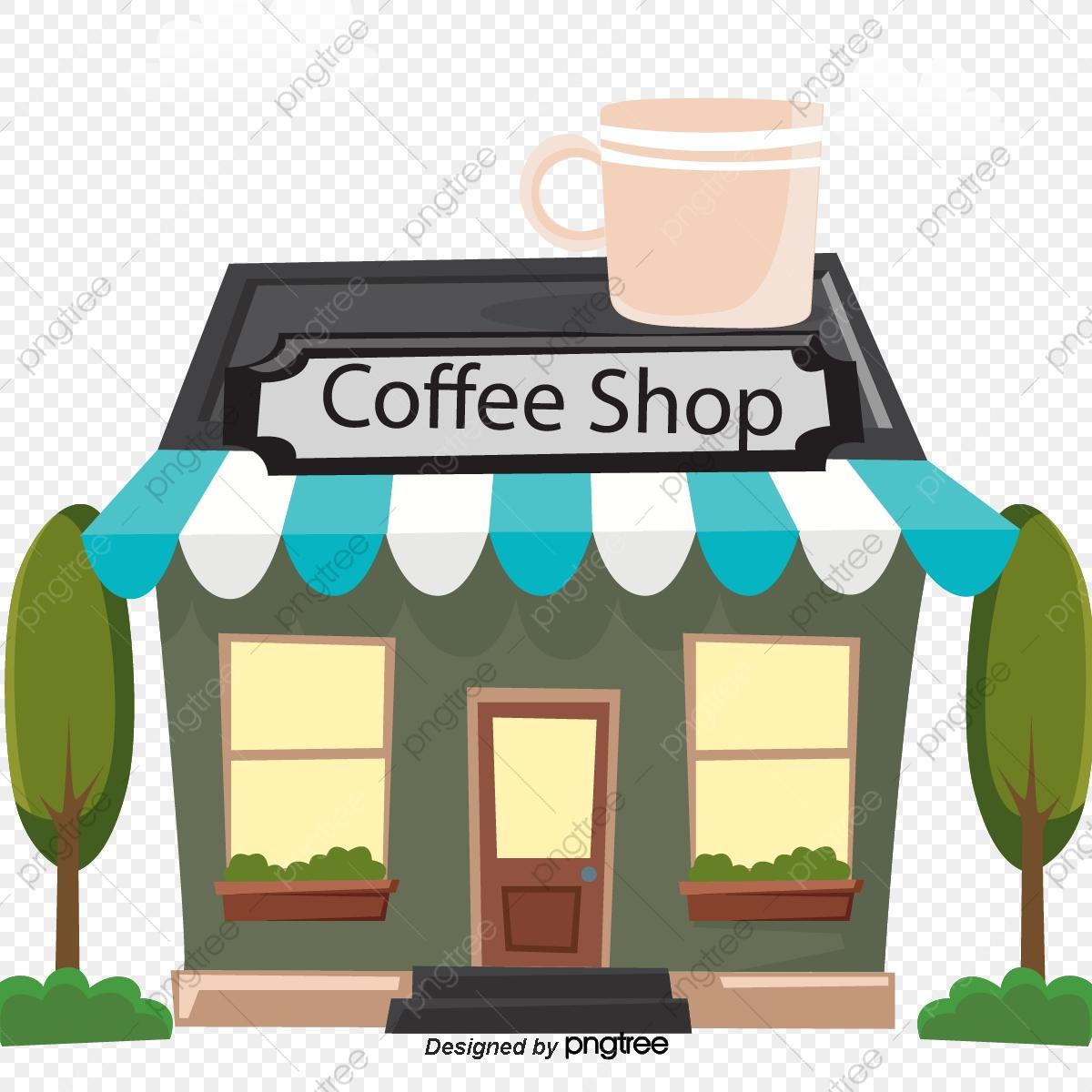 Illustration Coffee Shop, Shop Clipart, Retro Illustration PNG.