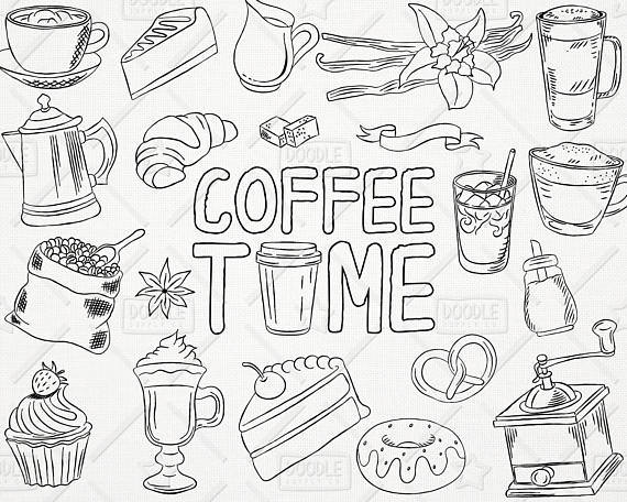 Doodle Coffee Vector Pack, Coffee Shop, Bakery, Cafe Clipart.