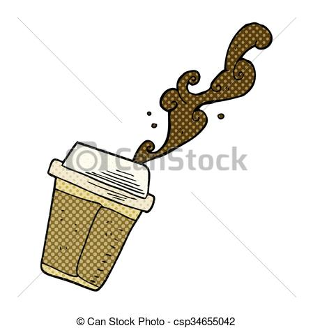 EPS Vector of cartoon coffee spilling.