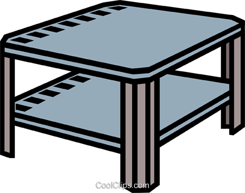 coffee table, end table Royalty Free Vector Clip Art illustration.