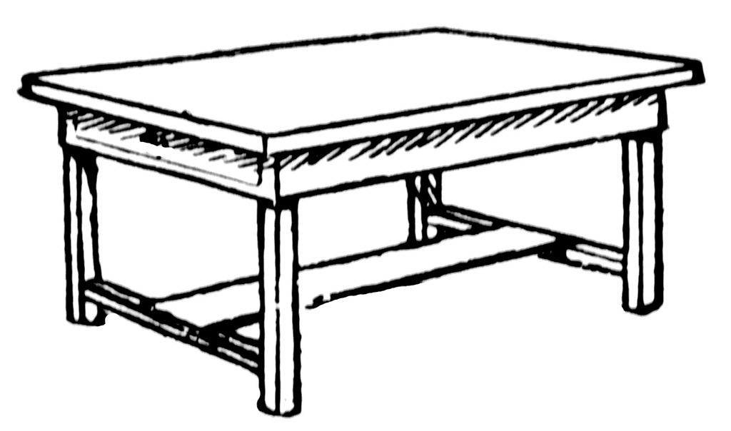 Coffee table and chair clipart.
