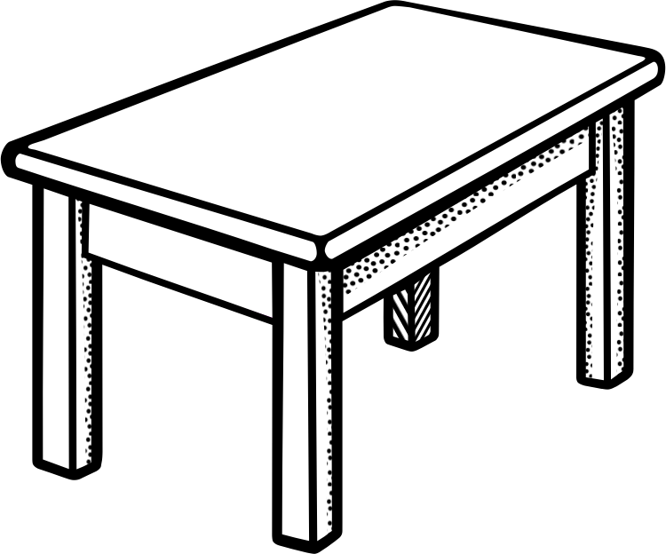 Coffee Table Clipart Black And White