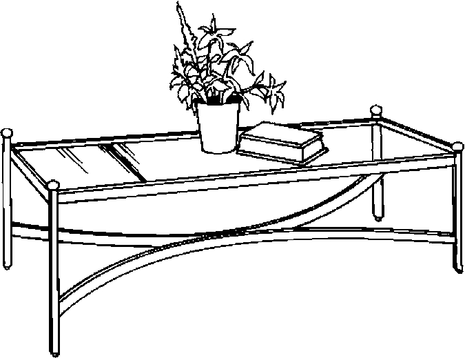 coffee table clipart black and white #7