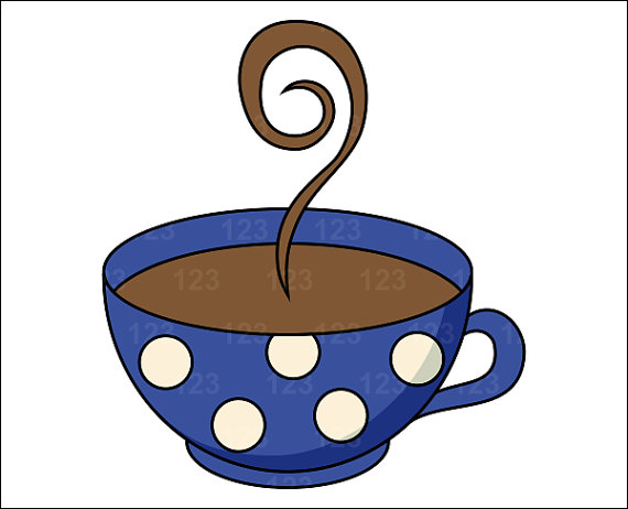 Items similar to Blue Dots Coffee Tea Cup Single Digital Clip Art.