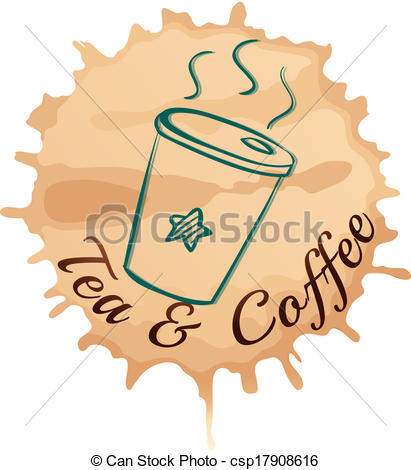 Clip Art Vector of A tea and coffee label with a cup of tea.