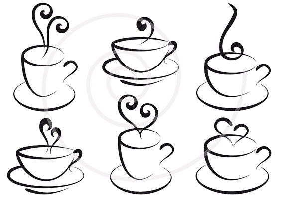 Coffee and tea cups with hearts, digital clip art, clipart, logo.