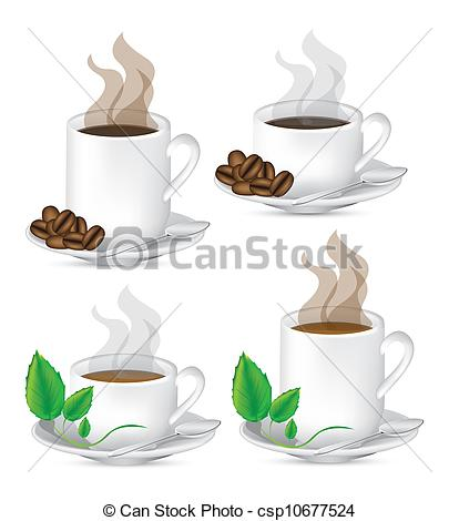 Vector Illustration of Cups of tea and coffee.