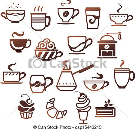 Vector Clip Art of Coffee and tea cups set. Vector icons.