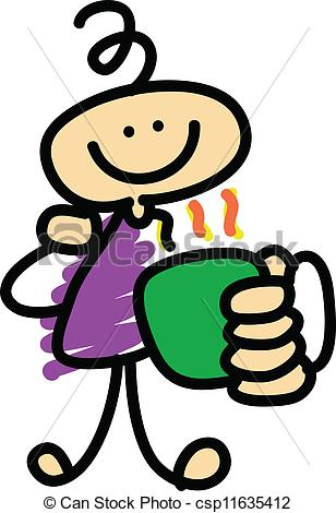 Vector Clip Art of coffee time cartoon character hand.
