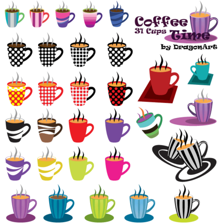 Coffee Time Clipart: 31 Cups Vector Set, Vectors.
