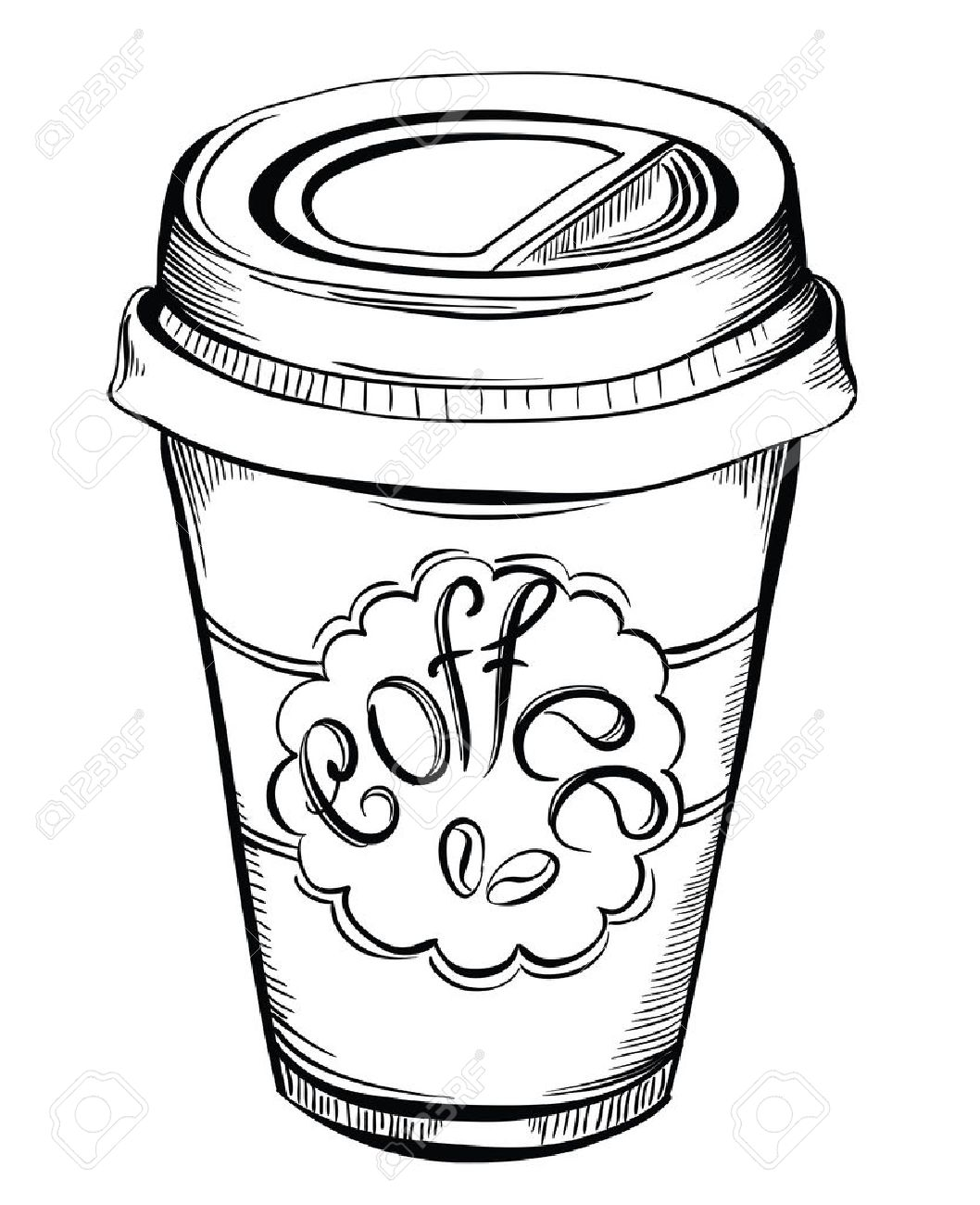 Hot Coffee Disposable to go Cup with lids and Label with coffee...