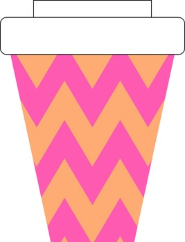 Pink and Orange Ice Cream Coffee Cups Clipart.
