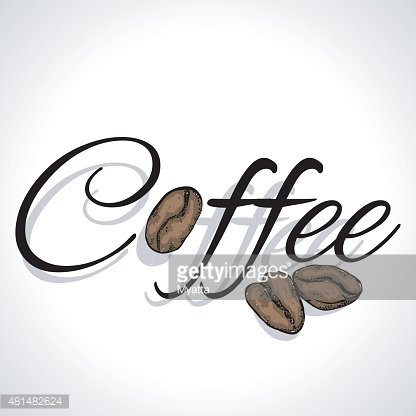 The word \'coffee\', decorated with coffee beans Clipart Image.