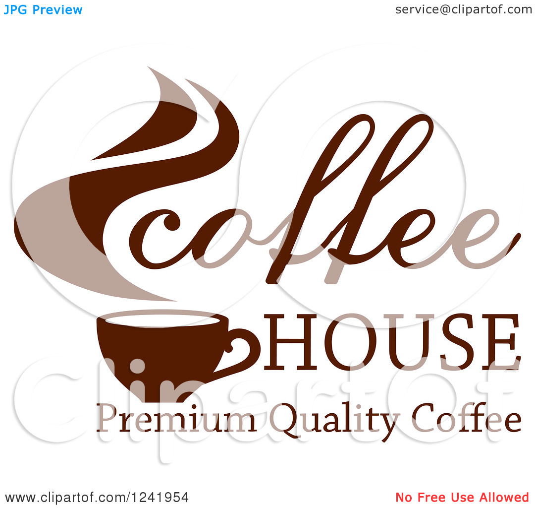 Clipart of a Brown Coffee House Label 2.