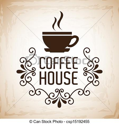 Clipart Vector of coffee house design over vintage background.