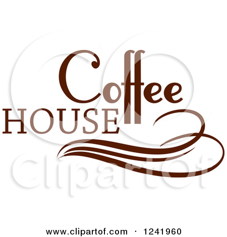 Clipart of a Brown Coffee House Label 4.