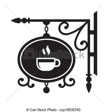 EPS Vector of Ancient street signboard coffee house. Vector.