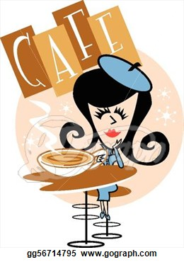 Mom Drinking Coffee Clipart.