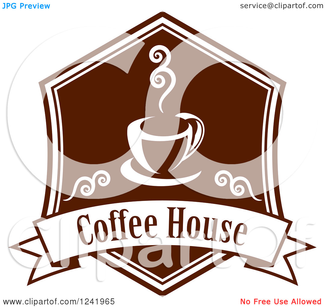 Clipart of a Brown Coffee House Label.