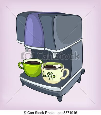 Clip Art Vector of Cartoons Home Appliences Coffee Maker.