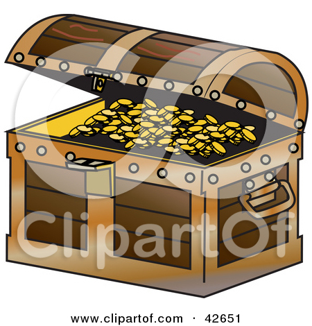 Clipart Illustration of an Open Treasure Chest With Coins Spilling.
