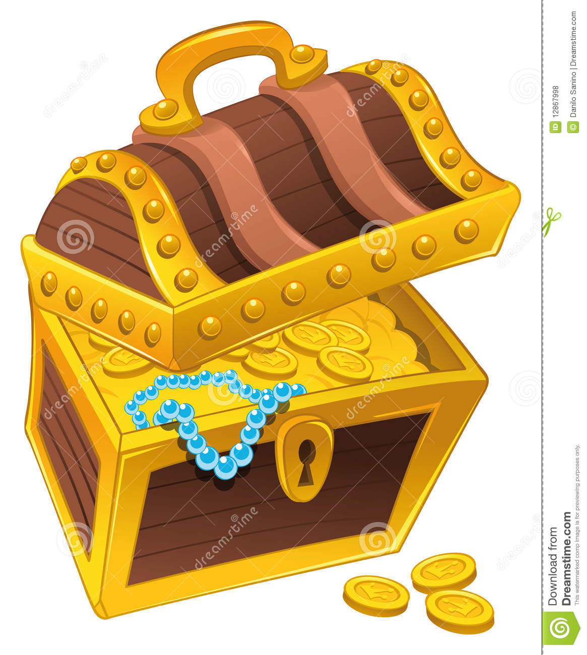 Golden Coffer With Treasure, Full Of Coins, Royalty Free Stock.