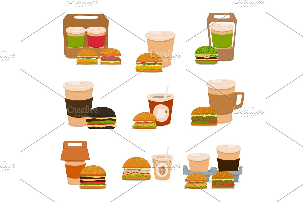 A set of tasty burgers and coffee drinks to takeaway. Vector illustration..