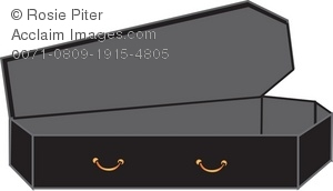 Royalty Free Clipart Illustration of a Coffin With Grey Lining.