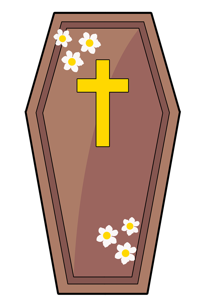Cartoon coffin clipart.