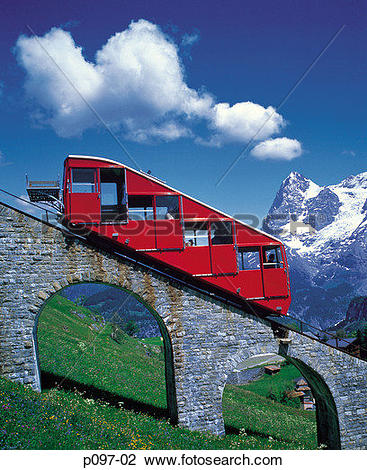 Stock Photo of Switzerland, Jungfrau and Cog Railway, mountains.