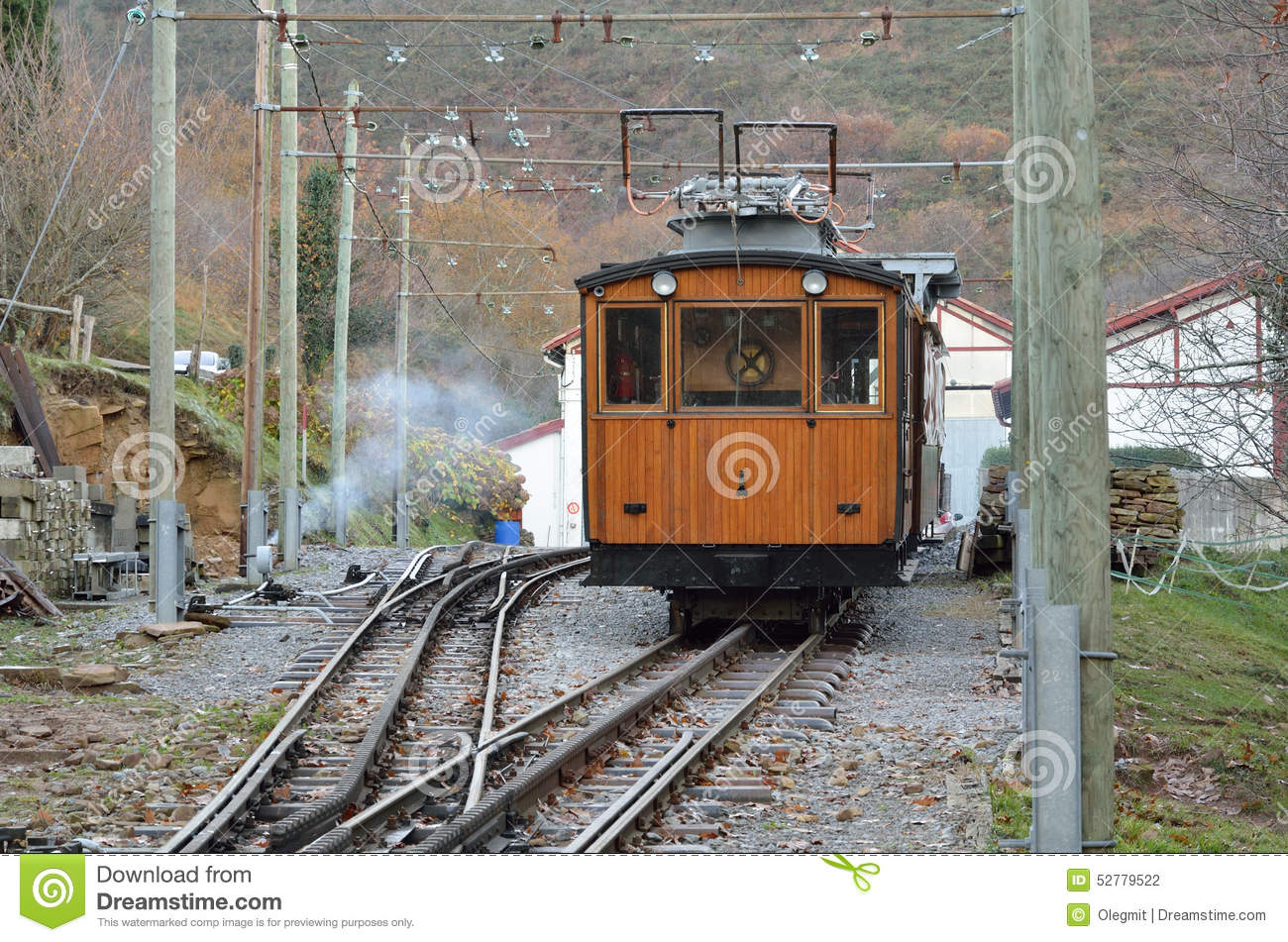 Electrical Rack Railroad In The Mountain Stock Photo.