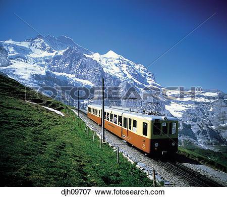 Picture of Jungfrau Cog Railway Train, Jungfrau, Bernese Oberland.