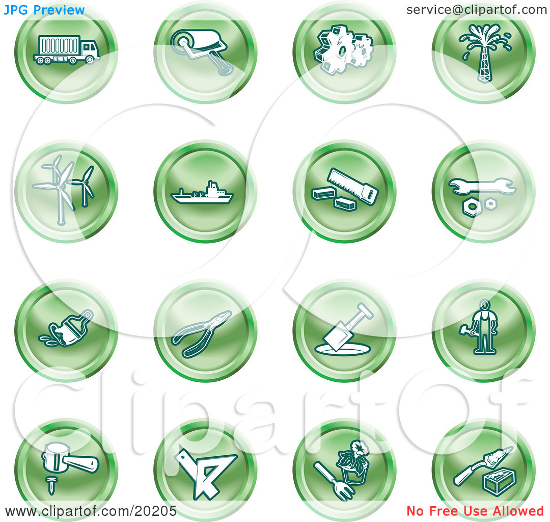 Clipart Illustration of a Collection Of Green Icons Of A Big Rig.