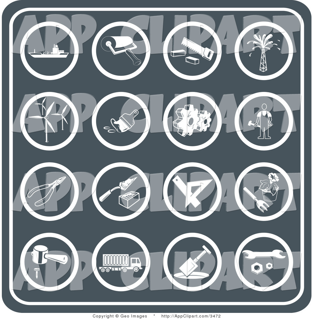 Vector Clip Art of a Collection of Sixteen Round Tool Icons.