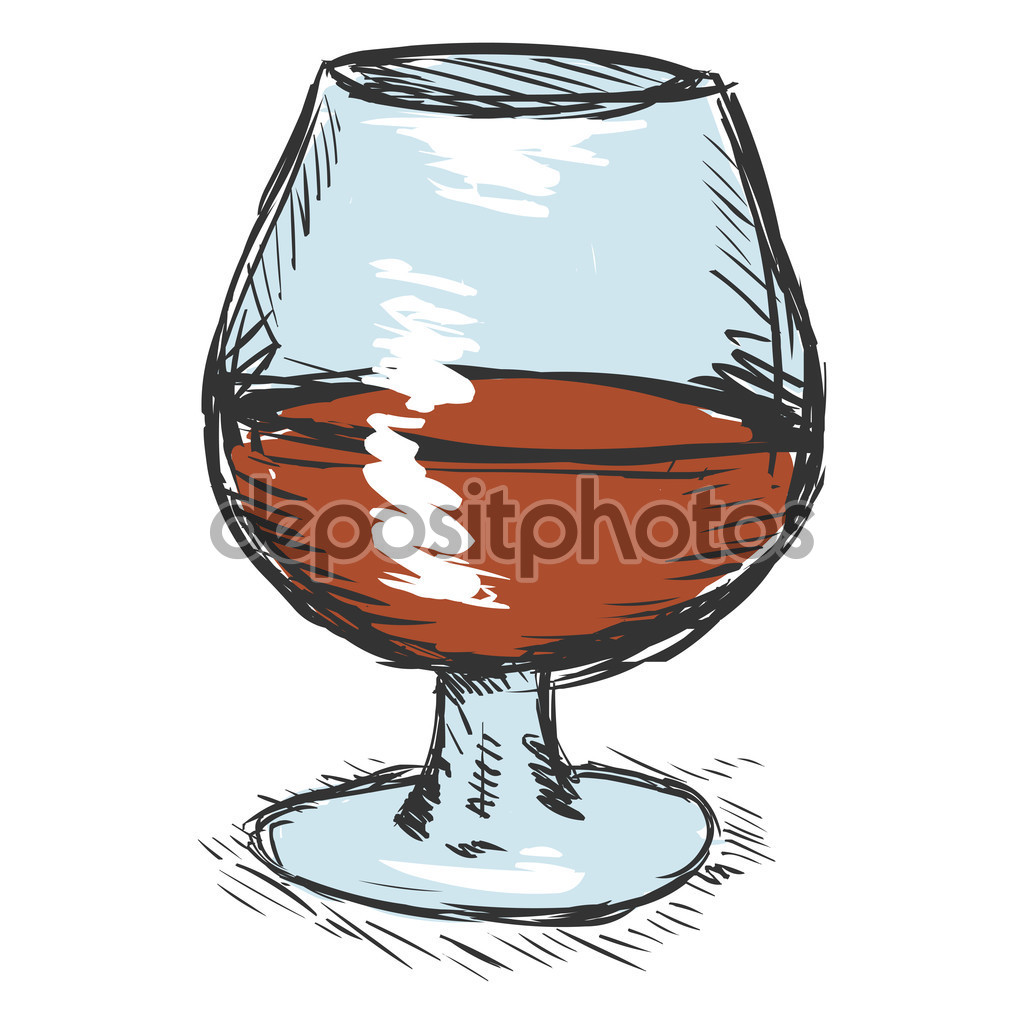Sketch Glass of Cognac — Stock Vector © nikiteev #84801616.